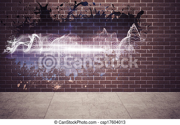 muur, gespetter, het openbaren, energie, golf - csp17604013