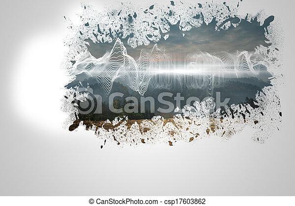 muur, gespetter, het openbaren, energie, wav - csp17603862
