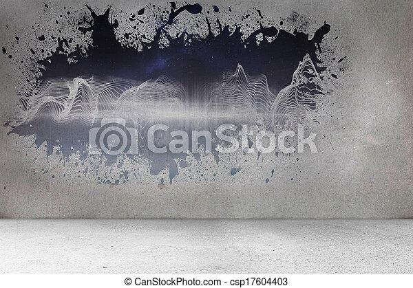 muur, gespetter, het openbaren, energie, golf - csp17604403