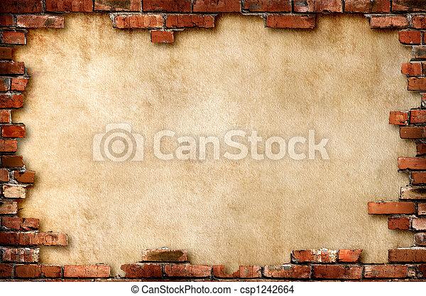 muur, grungy, baksteen, frame - csp1242664