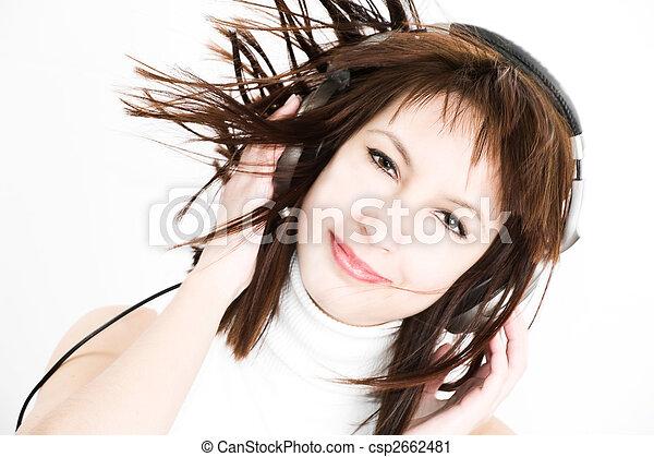 muziek, vrouwen, luisteren - csp2662481