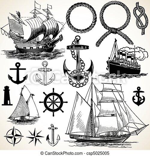 nautisch, pictogram, set - csp5025005