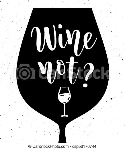niet, lettering, vector, wijntje - csp58170744