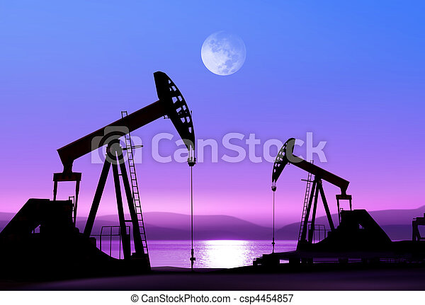 olie pompt op, nacht - csp4454857