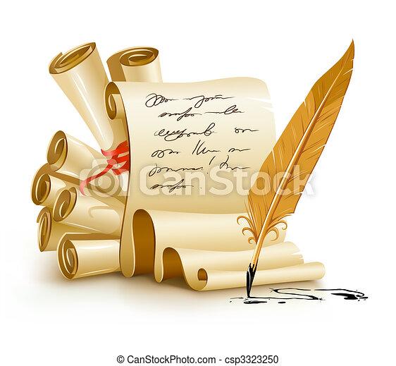oud, tekst, inkt, papier, manuscripten, handschrift, veer - csp3323250