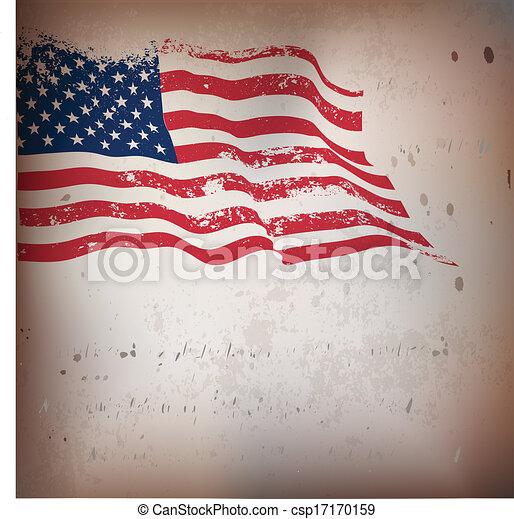 ouderwetse , amerikaan, textured, vlag, achtergrond. - csp17170159