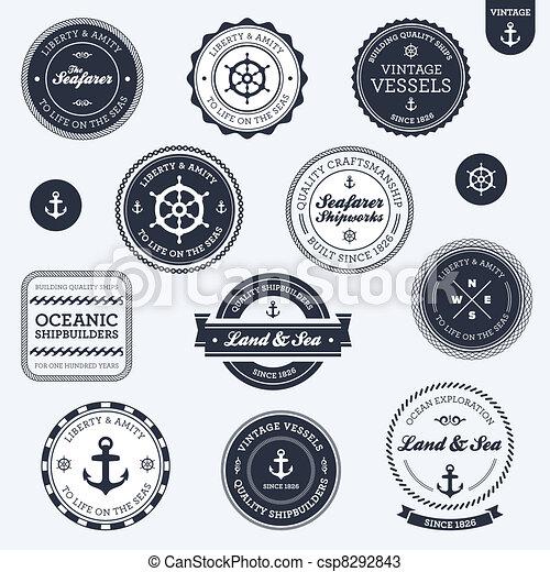 ouderwetse , etiketten, nautisch - csp8292843