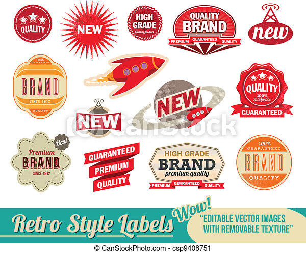 ouderwetse , etiketten, retro, markeringen - csp9408751