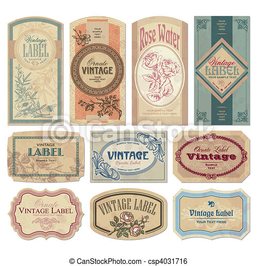 ouderwetse , etiketten, set, (vector) - csp4031716