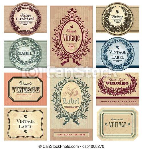 ouderwetse , etiketten, set, (vector) - csp4008270