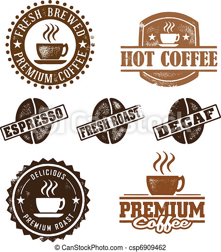 ouderwetse , stijl, koffie, postzegels - csp6909462