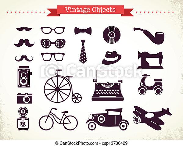 ouderwetse , voorwerpen, hipster, verzameling - csp13730429