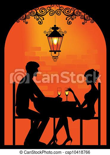 paar, silhouette, restauran - csp10418766