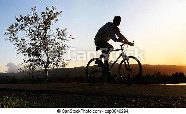 paardrijden, zijn, fiets, man - csp0040294