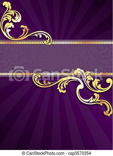 paarse , spandoek, goud, verticaal - csp3570354