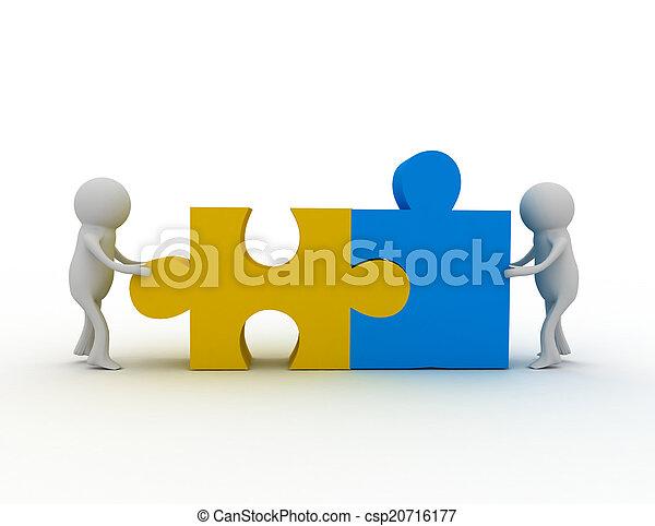 persoon, raadsel, 3d, man, stukken - csp20716177