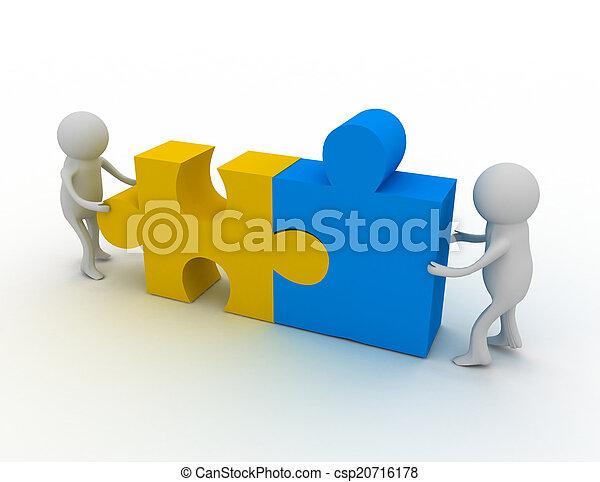 persoon, raadsel, 3d, man, stukken - csp20716178
