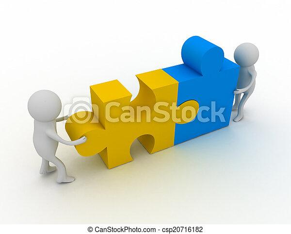 persoon, raadsel, 3d, man, stukken - csp20716182