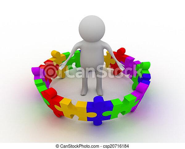 persoon, raadsel, 3d, man, stukken - csp20716184