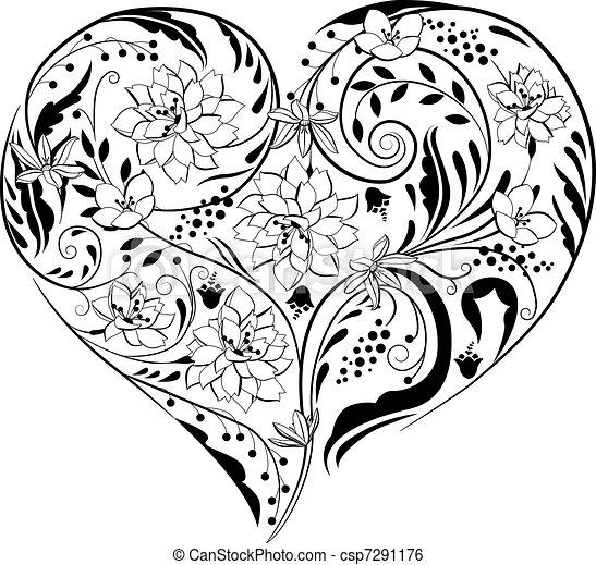 planten, hart gedaante, black , witte bloemen - csp7291176