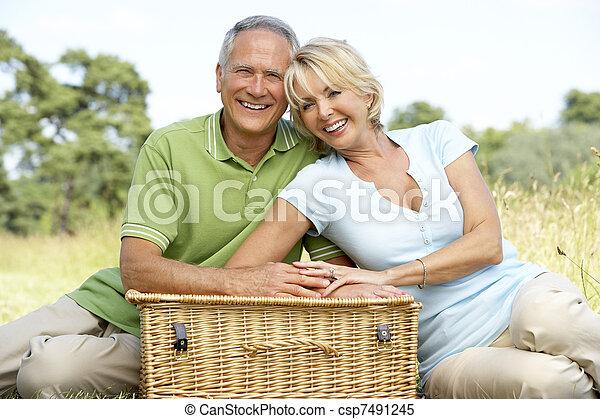 platteland, paar, picknick, hebben, middelbare leeftijd  - csp7491245