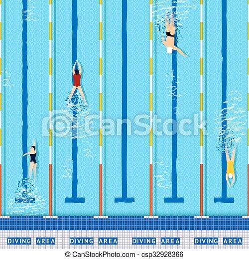 pool, zwemmen, aanzicht, bovenzijde - csp32928366