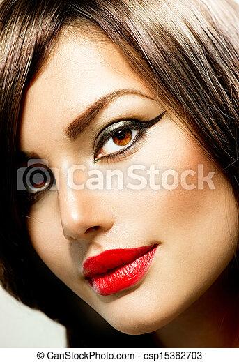 portrait., vrouw, makeup, mode, beauty - csp15362703