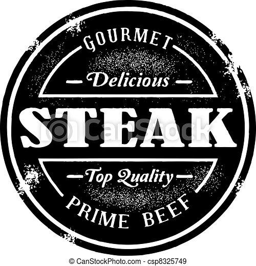 postzegel, ouderwetse , stijl, biefstuk - csp8325749