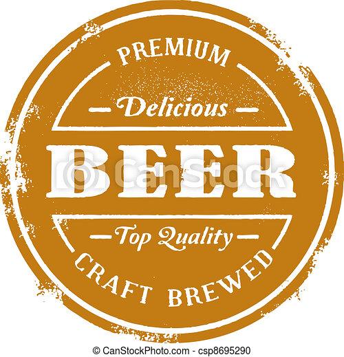 postzegel, ouderwetse , stijl, bier - csp8695290