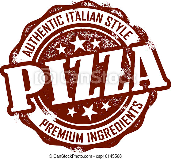 postzegel, ouderwetse , stijl, pizza, menu - csp10145568