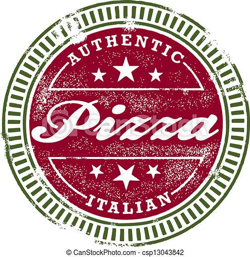 postzegel, ouderwetse , stijl, pizza - csp13043842
