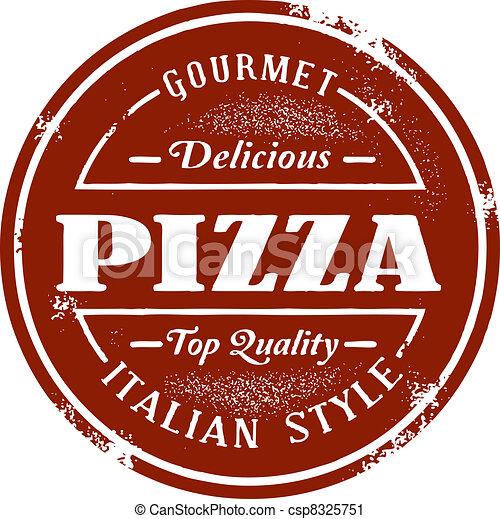 postzegel, ouderwetse , stijl, pizza - csp8325751