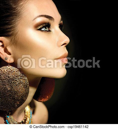 profiel, vrouw, vrijstaand, mode, black , verticaal - csp19461142
