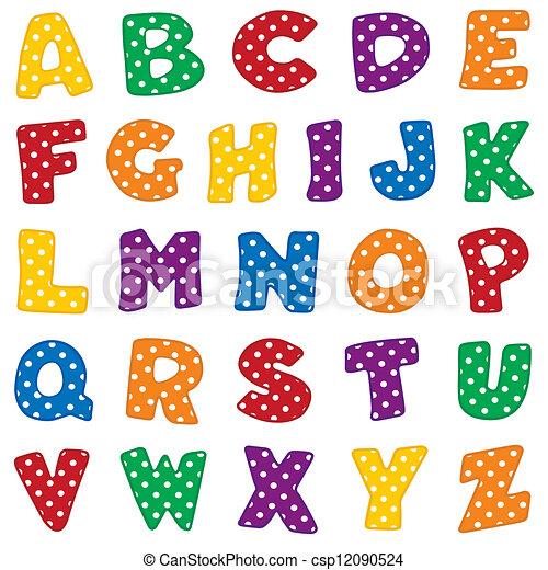 punten, alfabet, polka, witte  - csp12090524