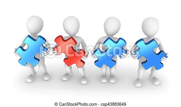 puzzelstukjes, 3d, mensen - csp43883649