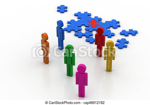 puzzelstukjes, mensen - csp46912182