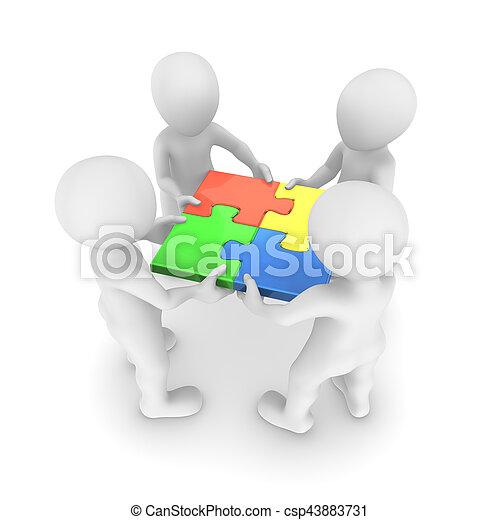 raadsel, 3d, samenhangend, mensen - csp43883731