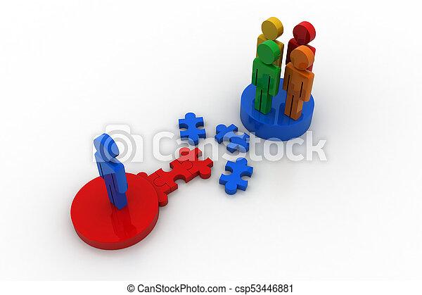 raadsel, concept, 3d, bewindvoering, mensen - csp53446881