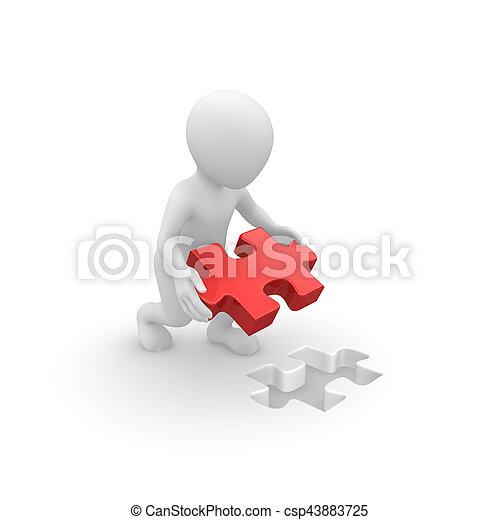 raadsel, jigsaw, 3d, menselijk, stuk - csp43883725