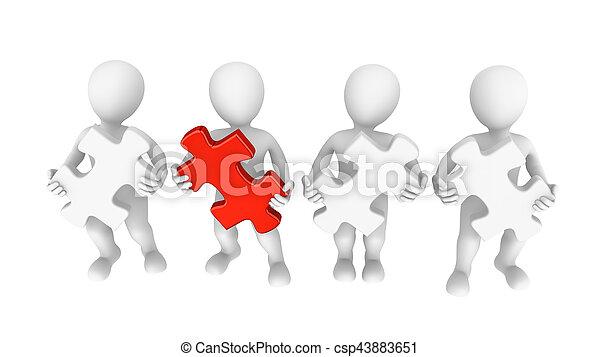 raadsel, jigsaw, teamwork, 3d, mensen - csp43883651