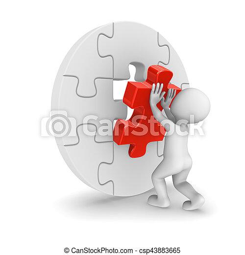 raadsel, montage, stuk, 3d, man - csp43883665
