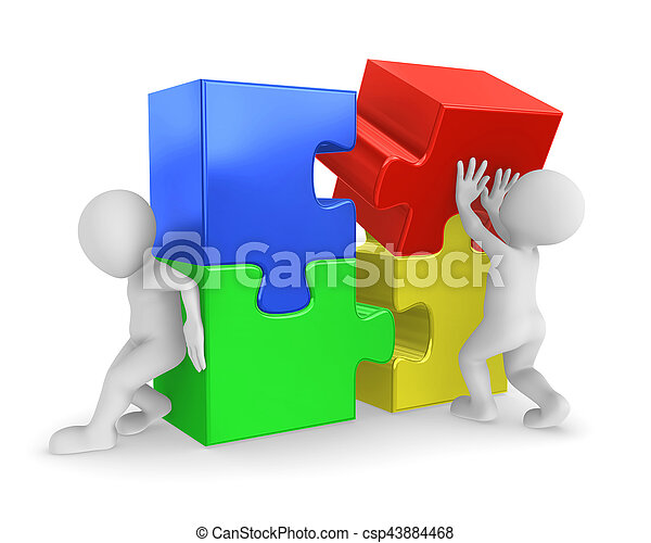 raadsels, 3d, werkende mensen  - csp43884468