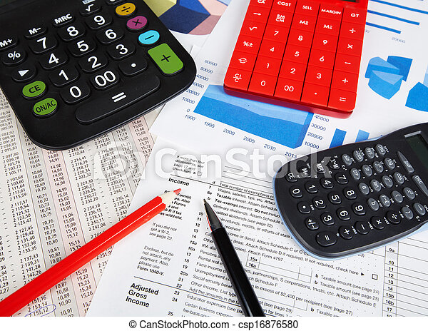 rekenmachine, objects., kantoor - csp16876580