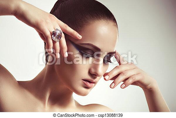 ring., vrouw, mode, juwelen - csp13088139