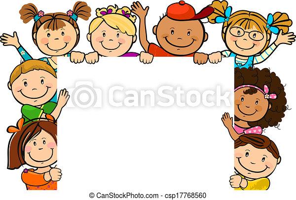 samen, plein, kinderen, blad - csp17768560