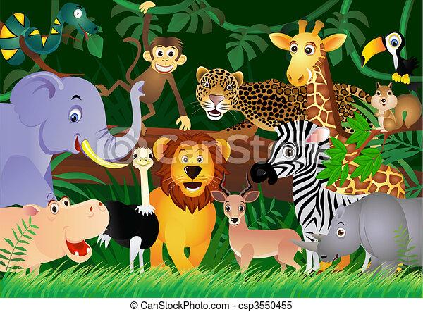 schattig, jungle, dier, spotprent - csp3550455