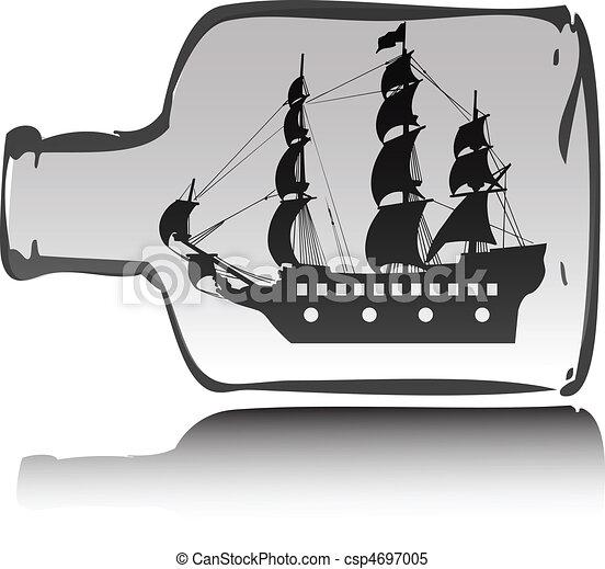 scheepje, fles, illustratie, zeerover - csp4697005