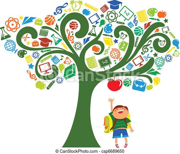 school, iconen, boompje, -, back, opleiding - csp6689650