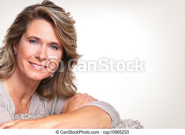 senior, woman., vrolijke  - csp10965233