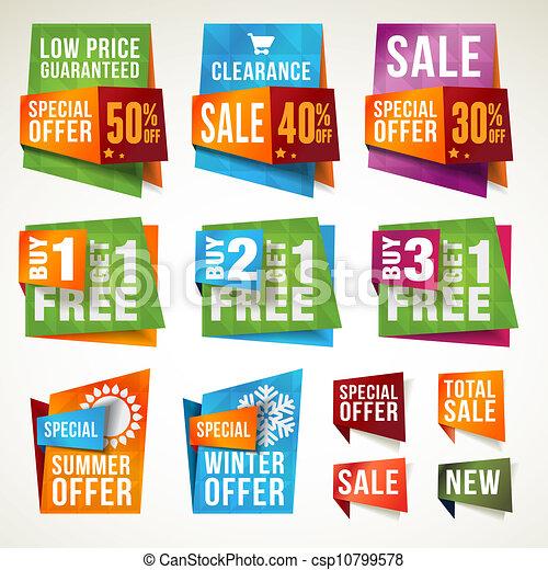 set, banieren, etiketten, verkoop - csp10799578